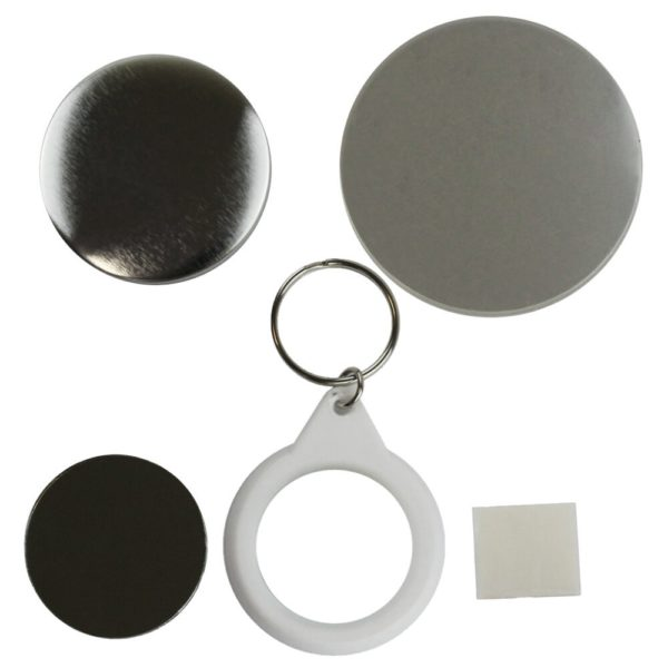 Components to make a 45mm mirror keyring in a badge maker. Includes round metal front, white plastic circular keyring, mirror, sticky pad and clear plastic film circles