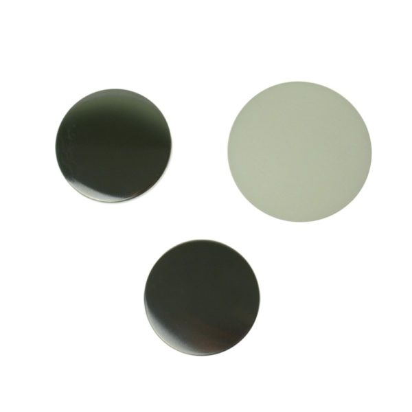 Components to make 58mm circular flat back comprising of metal disc front, smaller metal disc back and clear plastic film cover