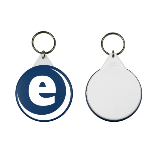 Made up sample of a 58mm keyring showing front and back