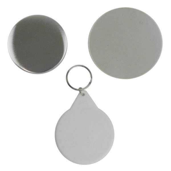 Components to make a 58mm keyring in a badge machine comprising metal front, white plastic back with keyring attachment and clear plastic film circle