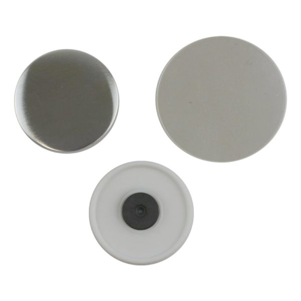 Components for making a 58mm fridge magnet in a badge maker comprising a metal round front, white plastic back with magnet attached and clear plastic mylar film covering