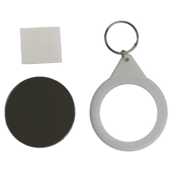 Component parts which make up a 58mm mirror keyring back only including metal front, white plastic keyring with ring attached plus sticky pad