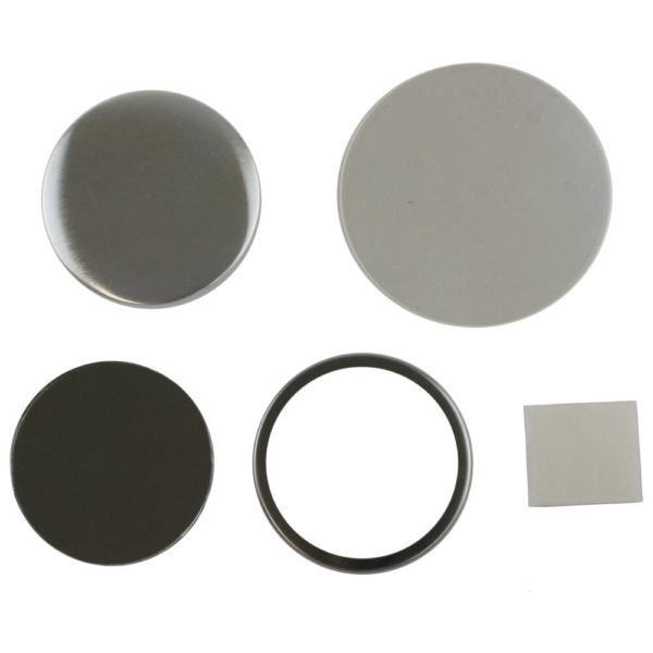 Components to make a 58mm compact mirror in a badge machine comprising round metal front, metal rim, mirror, sticky pad and clear plastic mylar cover