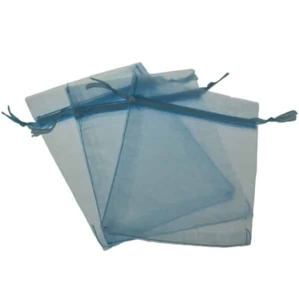 Three blue gauze gift pouches with pull ribbon closure