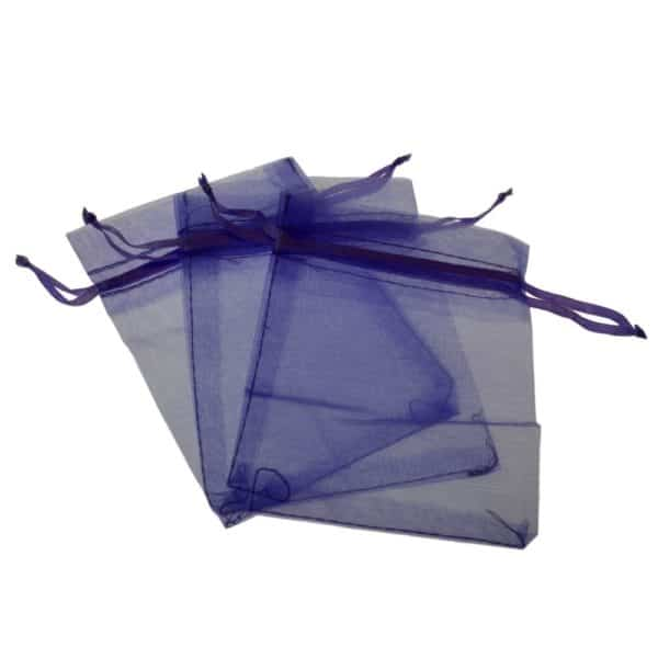 Three purple gauze gift pouches with pull ribbon closure