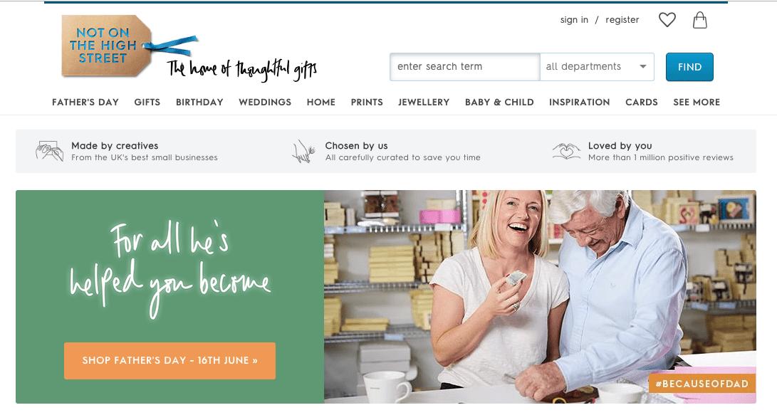 Not on the High Street website screenshot